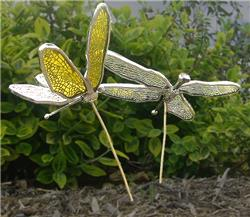 W-D Stained Glass Small Dragonfly Plant Spikes Kit