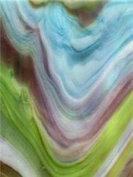 Wissmach White Swirled With Lime Green, Amber And Blue (264-D)